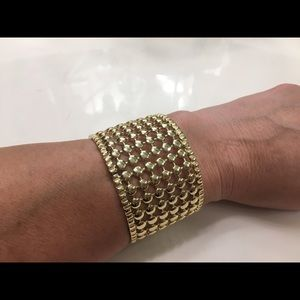 New CHICO'S gold collapsible stretchy bracelet